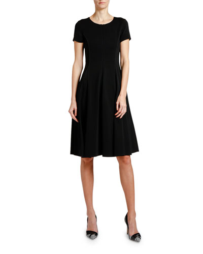 Short-Sleeve Jersey Midi Dress