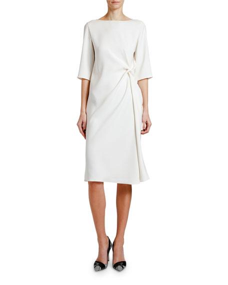 Giorgio Armani Knotted Techno Cady 1/2-Sleeve Dress