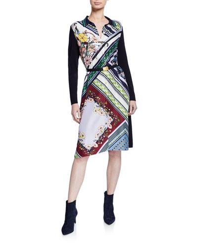 Mixed-Print Silk-Front Long-Sleeve Belted Shirtdress