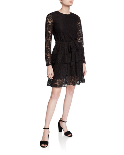Long-Sleeve Tiered Lace A-Line Dress