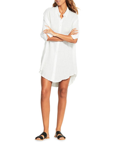 87117798 White Linen Dress | Neiman Marcus