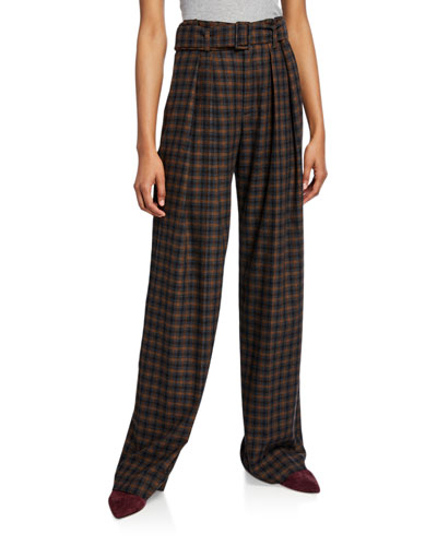 Belted Plaid Wide-Leg Pants