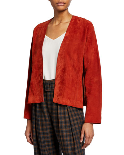 Suede Open-Front Jacket with Belt