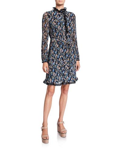 Deneuve Floral Ruffle-Neck Long-Sleeve Plisse Dress