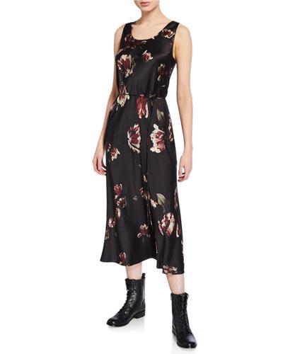 Mixed Tulip-Print Slip Dress