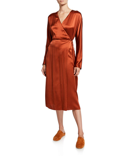 Silk Long-Sleeve Wrap Dress