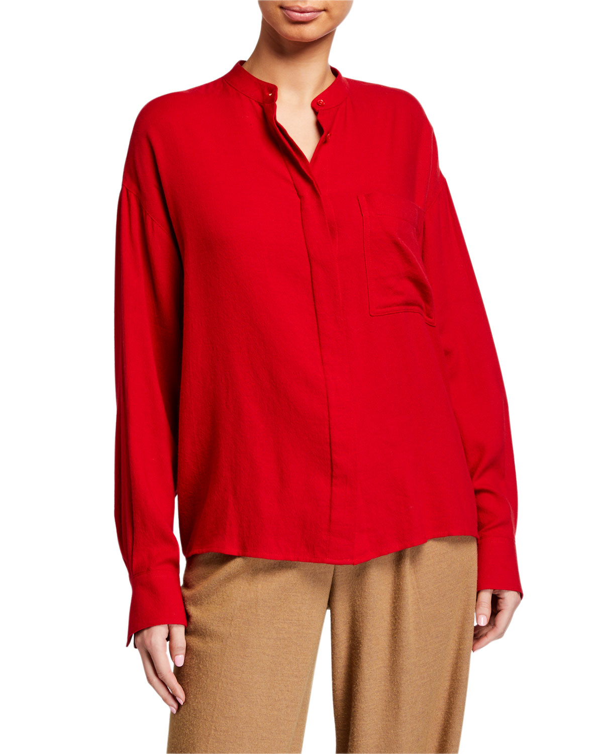 Vince Tops BAND COLLAR BUTTON-DOWN BLOUSE