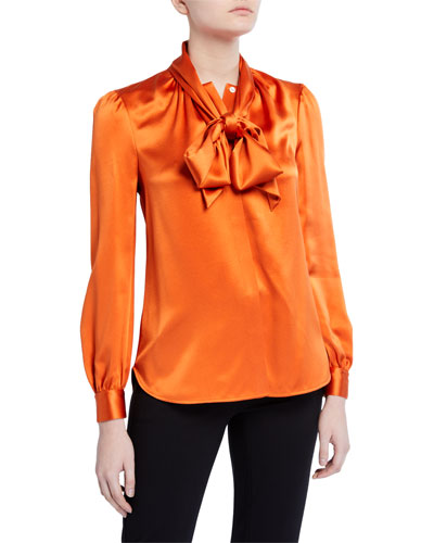 Silk Satin Long-Sleeve Bow Blouse