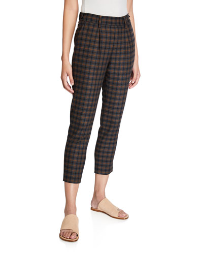 Cropped Plaid Pull-On Pants