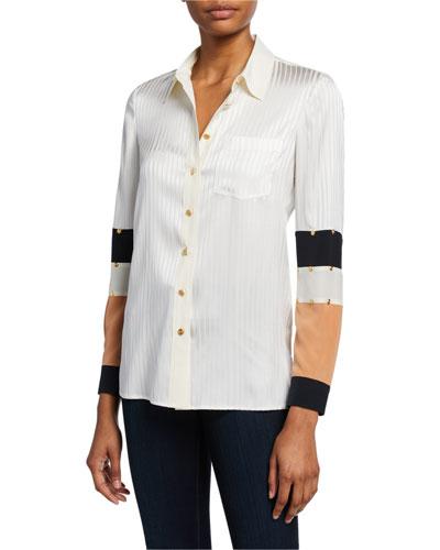 Patchwork Button-Down Silk Shirt with Stud Trim