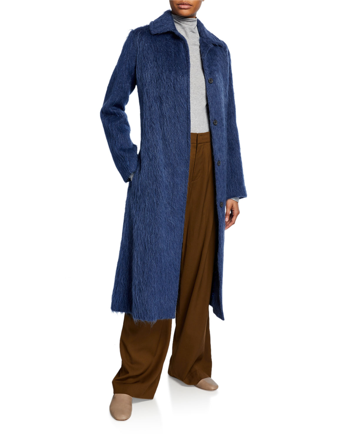Vince Coats BELTED WOOL-BLEND SLIM COAT