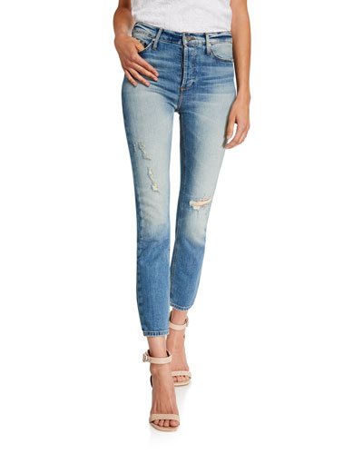 Joan High-Waisted Straight-Leg Distressed Crop Jeans
