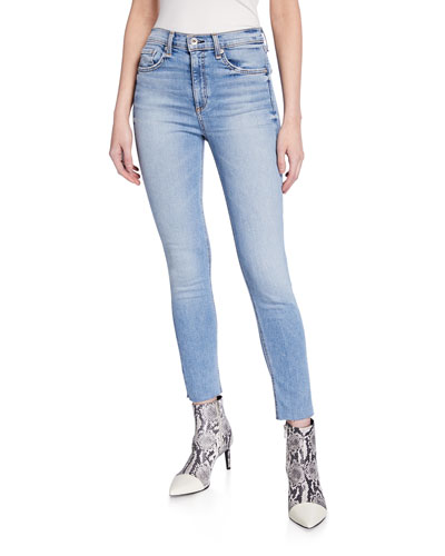 High-Rise Distressed Ankle Skinny Jeans w/ Raw Hem