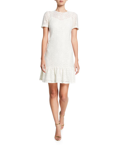 Lace Short-Sleeve Ruffle-Hem Tee Dress