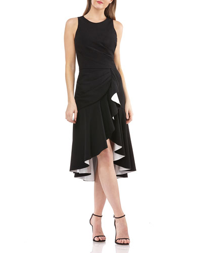 Sleeveless High-Low Cocktail Dress w/ Contrast Lined Ruffle