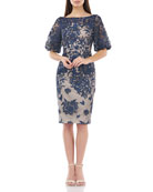 Carmen Marc Valvo Infusion Embroidered Bateau-Neck Puff-Sleeve