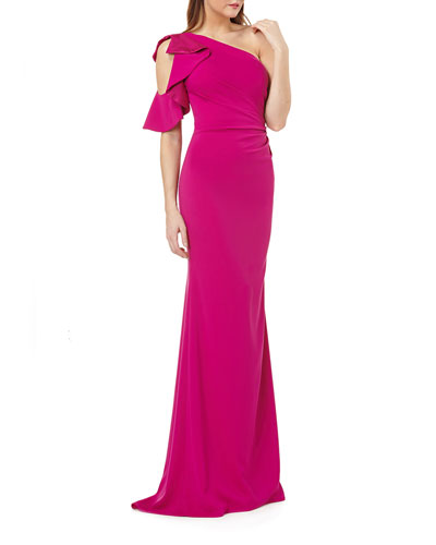 One-Shoulder Asymmetric Ruched Crepe Gown w/ Satin-Lined Ruffle