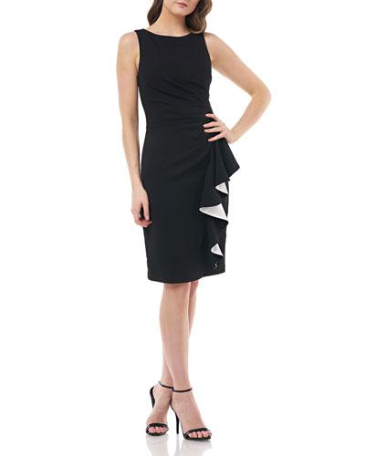 Bateau-Neck Sleeveless Ruched Dress w/ Satin-Line Side Ruffle