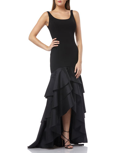 Scoop-Neck Sleeveless Crepe Gown w/ Taffeta High-Low Ruffle Skirt