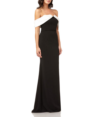 Colorblock Off-the-Shoulder Column Gown w/ Satin Draped Arms