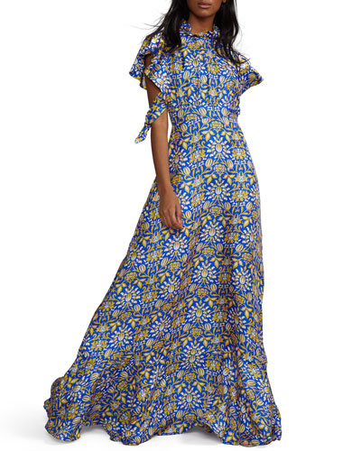 Talia Printed Flutter-Sleeve Silk Maxi Dress