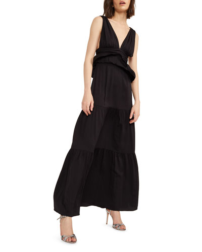 Zadie V-Neck Sleeveless Tiered Peplum Maxi Dress