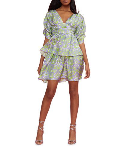 Frieda Printed Puff-Sleeve Tiered Mini Dress