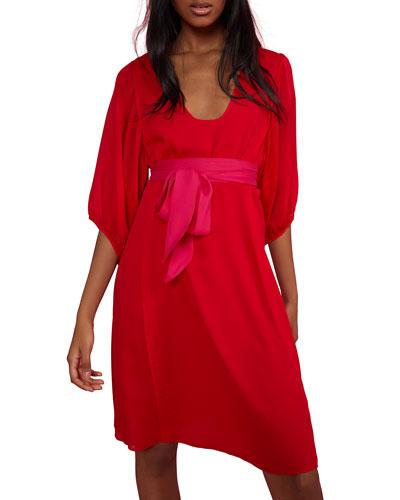 Tinley Sash-Tie 3/4-Sleeve Dress