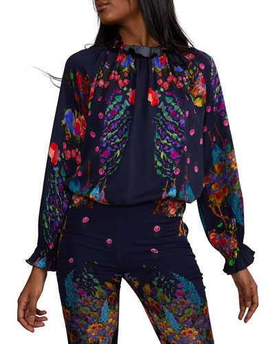bccf78316eb866 Quick Look. Cynthia Rowley · Roseland Printed Smocked Ruffle Neck Long-Sleeve  Blouse
