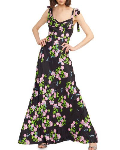 Ten Rose Sweetheart Tie-Shoulder Maxi Dress