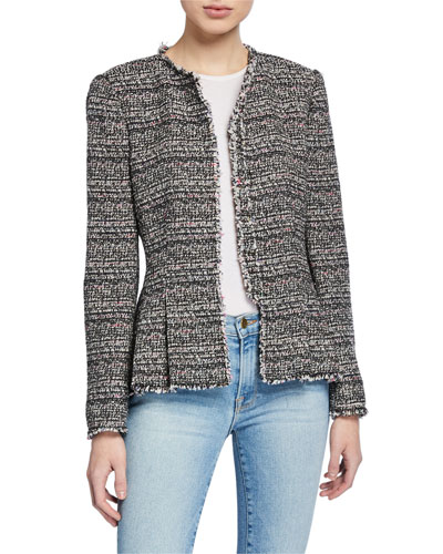 Collarless Tweed Peplum Jacket