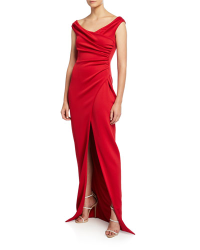 Flora Mock-Wrap Sleeveless Gown with Front Slit