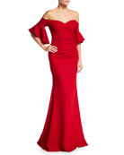 Badgley Mischka Collection Off-the-Shoulder Ruched Crepe Evening