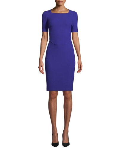 Irina Square-Neck Short-Sleeve Boucle-Knit Sheath Dress