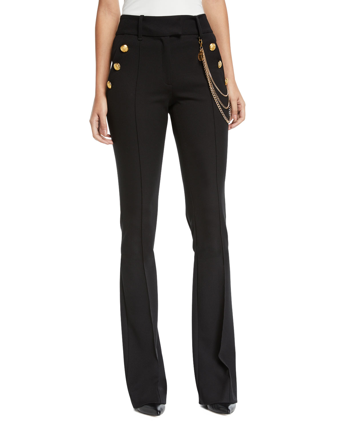 Veronica Beard Pants ALAIR HIGH-RISE BOOT-CUT TROUSERS WITH CHAIN DETAILS