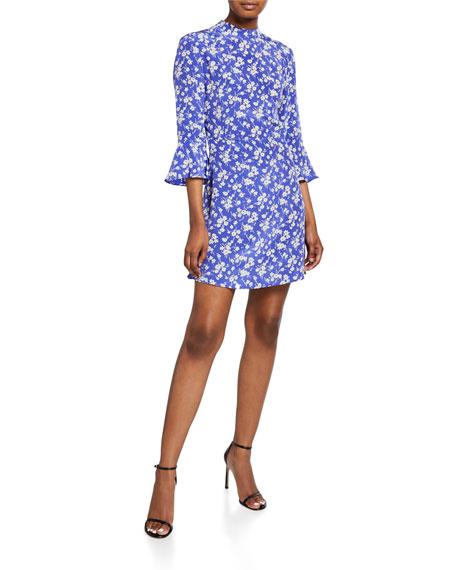 HVN Mini Ashley Bell-Sleeve Dress