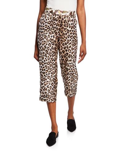 Miami Animal Print Silk Capri Pants