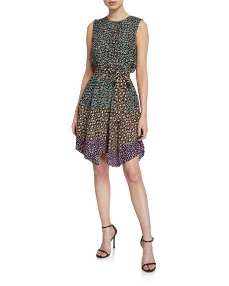 Rebecca Taylor Louisa Sleeveless Floral-Print Dress