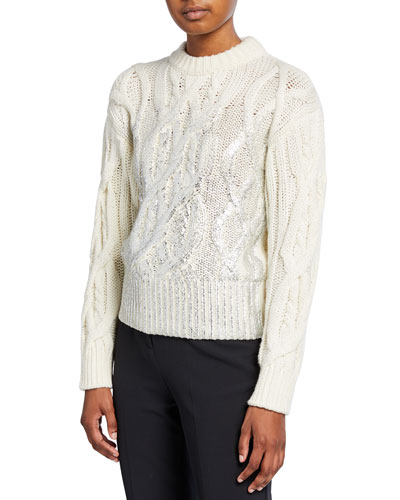 Cable-Knit Crewneck Sweater with Metallic Detail
