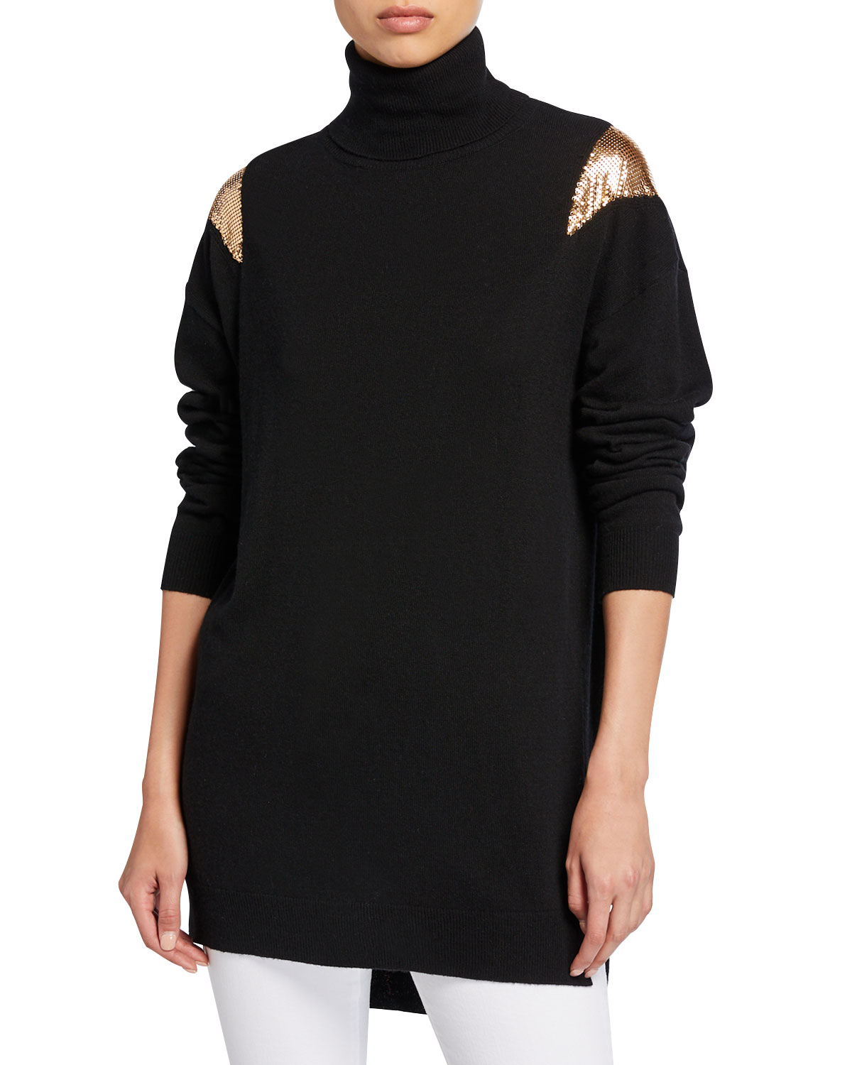 Pinko Tops KNIT TURTLENECK TUNIC SWEATER WITH CHAINMAIL SHOULDERS