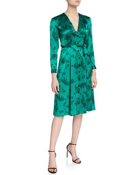 HVN Lauren Button-Down Long-Sleeve Dress