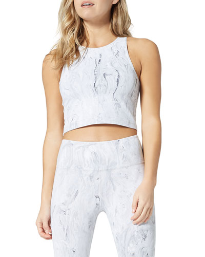 Marble-Print Cropped Active Tank