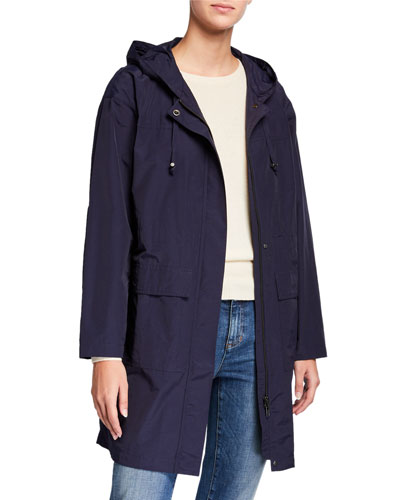 Plus Size Organic Cotton/Nylon Hooded Long Jacket