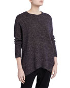 Eileen Fisher Wool/Recycled-Cotton Oversized Sweater with Curved
