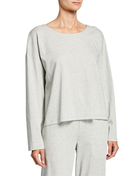Eileen Fisher Speckle Knit Jewel-Neck Long-Sleeve Box Top