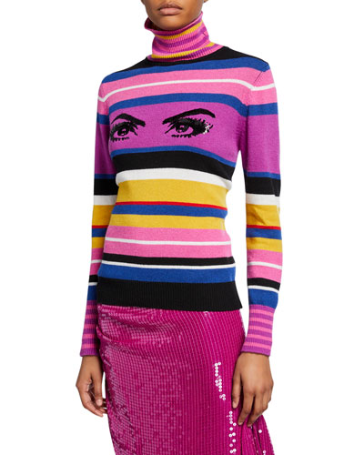 Striped Sequined Eye Turtleneck Sweater