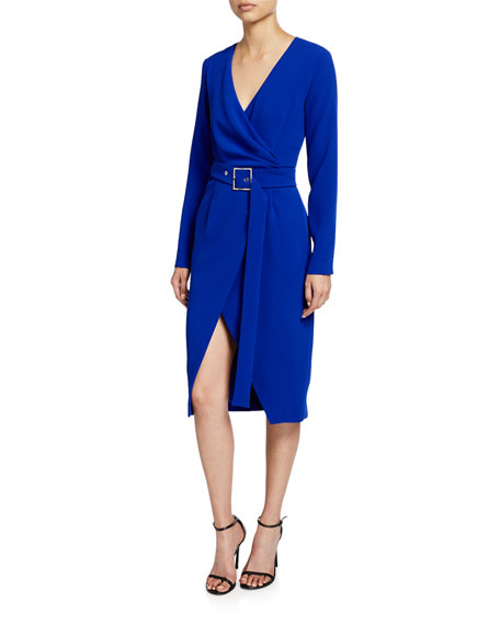 PINKO Long-Sleeve Crepe Wrap Midi Dress