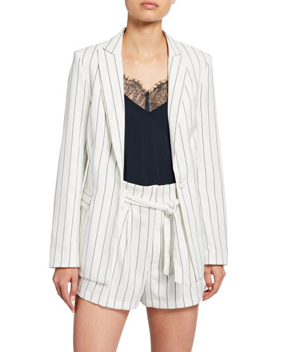 Pinstripe One-Button Boyfriend Blazer