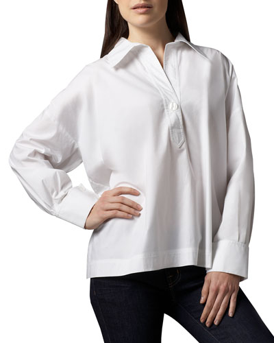 Petite Oversize Long-Sleeve Stretch Shirt
