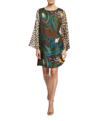 Madrid Floral Print Animal Sleeve Silk Shift Dress